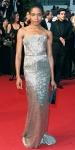 Naomie Harris in a silver belted Calvin Klein column gown.