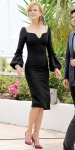 Nicole Kidman in a black pencil dress by Alexander McQueen with pink pointy toe pumps.