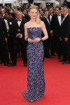 Nicole Kidman in a blue leave printed L'Wren Scott column gown with cuff bracelets.