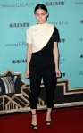 Rooney Mara in a black & white colorblocked Giambattista Valli jumpsuit with Jimmy Choo shoes.