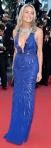 Sharon Stone in a blue sparkling halter Roberto Cavalli gown.