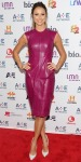 Stacy Keibler in a magenta sculpted Monique Lhuillier leather dress with Alejandro Ingelmo pumps.