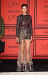 Adriana Lima in a metallic sheer skirt look by Givenchy