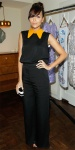 Ashley Madekwe in a black & orange-collared Roksanda Ilincic jumpsuit.