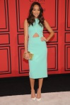 Ashley Madekwe in a mint cut-out Cushnie et Ochs pencil dress with white pointy toe pumps