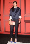 Jenna Lyons in a a J.Crew outfit with blue suede pumps.