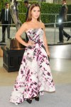 Monique Lhuillier in a strapless printed dress