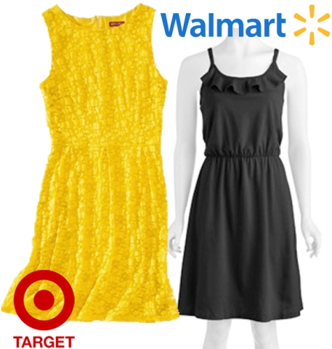 Target - Merona refined lace dress $8.38, Walmart - Faded Glory ruffle knit dress $9.49.