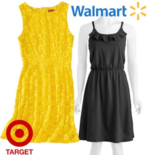 Target - Merona refined lace dress $8.38, Walmart - Faded Glory ruffle knit dress $9.49.