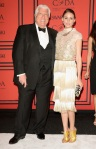 Olivia Palermo in a white & gold Dennis Basso design with Dennis Basso