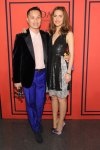 Rose Byrne in a metallic panel Thakoon dress with purple sandal pumps & Phillip Lim