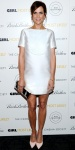 Kristen Wiig in an a-line Viktor & Rolf shift dress with pale pink Nicholas Kirkwood pumps.