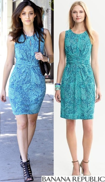 Emmy Rossum. Banana Republic - Issa Collection Blue Ceramic Printed Wrap-Tie Dress $130.00