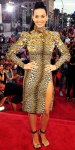 Katy Perry in a leopard print Emanuel Ungaro dress with Anita Ko earrings with Celine sandals.
