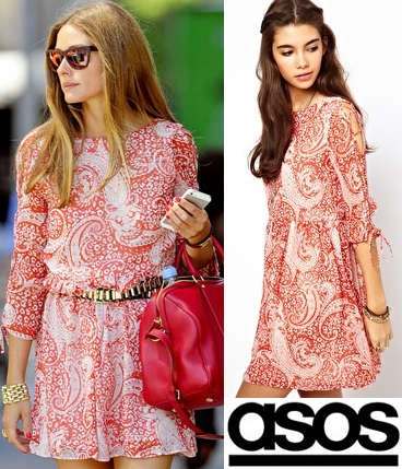 Olivia Palermo. ASOS - Skater Dress In Paisley Print With Lace Up Sleeve $67.50.
