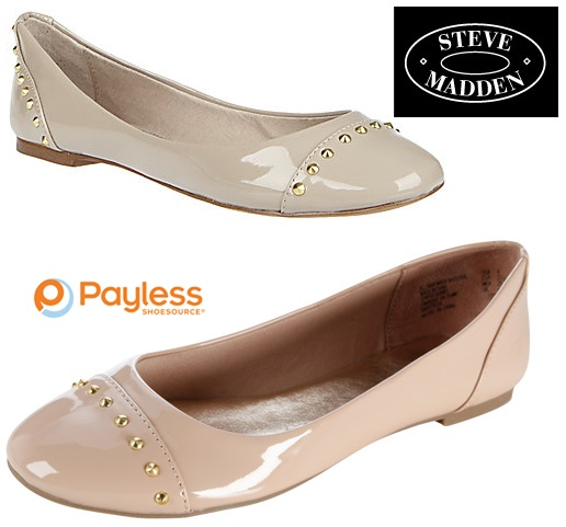 Nude Patent Studded Flats From Steve