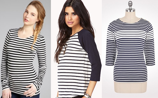 Bluefly - Alice + Olivia striped long sleeve top $40.97. Forever 21 - Striped baseball tee $12.80. Dress Barn - Striped button shoulder top $34.00.