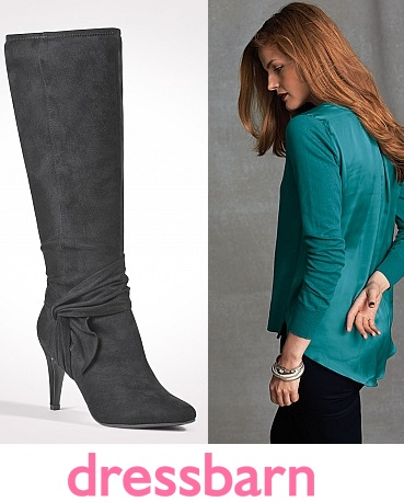 Dress Barn - Knotted faux suede 'Tait' boots $65.00. Woven back top in Turquoise $21.60.