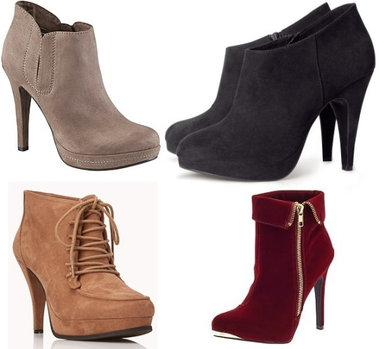 Aldo - Koubova booties $34.99, H&M - boots $39.95, Forever 21 - Standout lace-up booties $34.80, & Piperlime - Qupid Prevail bootie $49.97.