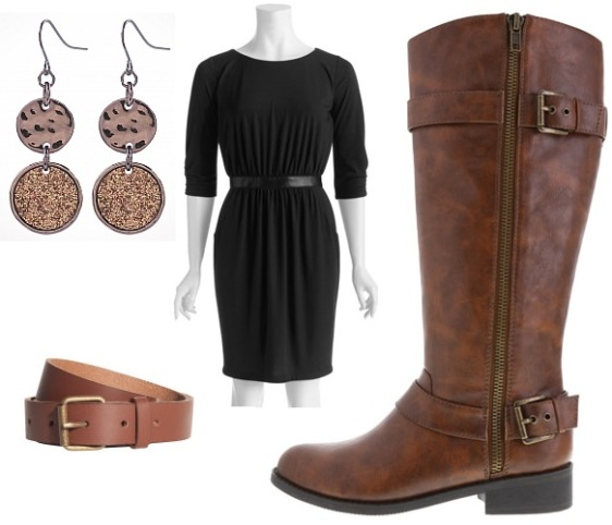 Walmart - waistband dress $14.00, Payless - riding boots $29.99, H&M - leather belt $12.95, & Dress Barn - disc earrings $12.00.