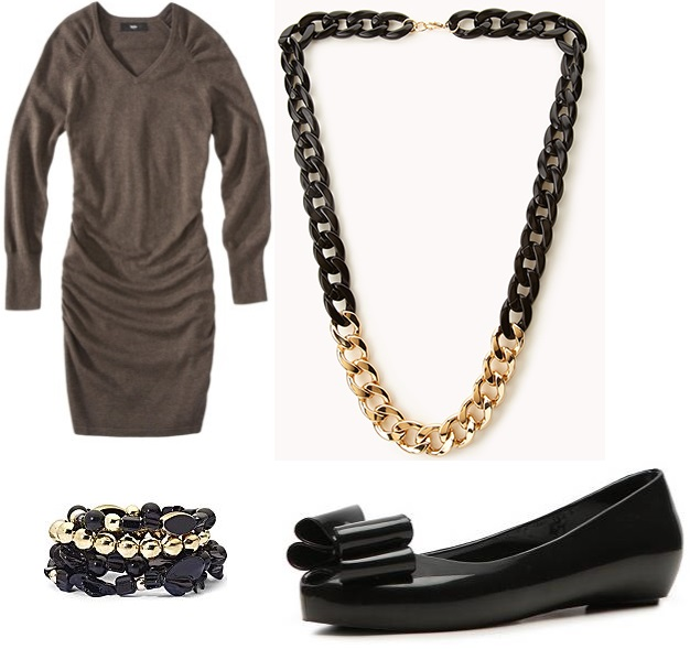 Target - sweater dress $29.99, Forever 21 - chain necklace $12.80, JC Penney - stretch bead bracelets $7.95, & DSW - NYLA flat $19.95.