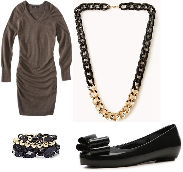 Target - sweater dress $29.99, Forever 21 - chain necklace $12.80, JC Penney - stretch bead bracelets $7.95, & DSW - NYLA flat $19.95.