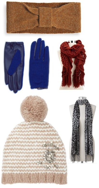 Avenue - Metallic Headband $12.00, Zara - Short Faux Leather Gloves $25.90, Charlotte Russe - Ruffled Open Knit Scarf $12.99, LOFT - Pearlized Gem Embellished Hat $34.50, & Kohl's - Croft & Barrow Ombre Animal Fringed Scarf $9.99.