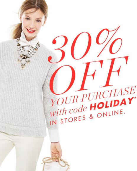 J. Crew - 30% off online & in stores with code HOLIDAY.