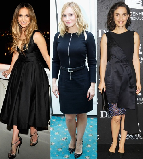Jennifer Lopez in Dsquared. Kristen Bell in a cut-out LBD. Natalie Portman in Christian Dior.