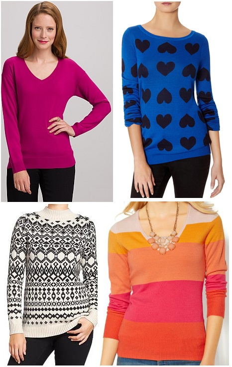 Dress Barn - V-Neck Sweater $19.99, The Limited - Heart Sweater $59.95, Old Navy - Mock Turtleneck Sweater $30.00, & New York & Company - Striped Sweater $25.00.