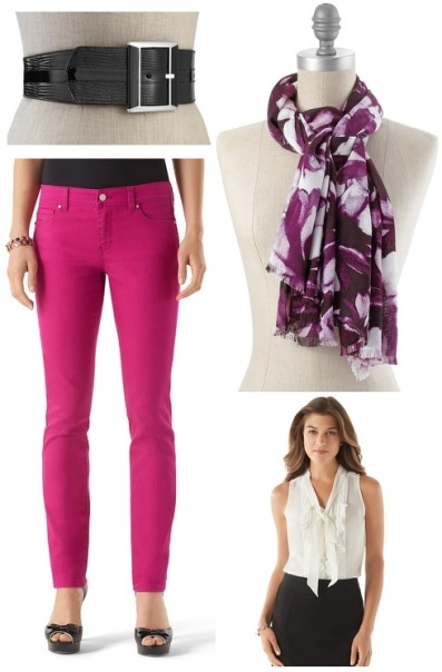 White House Black Market - snake belt $14.99, slim ankle jean $19.99, floral scarf $19.99, & silk blouse $19.99.