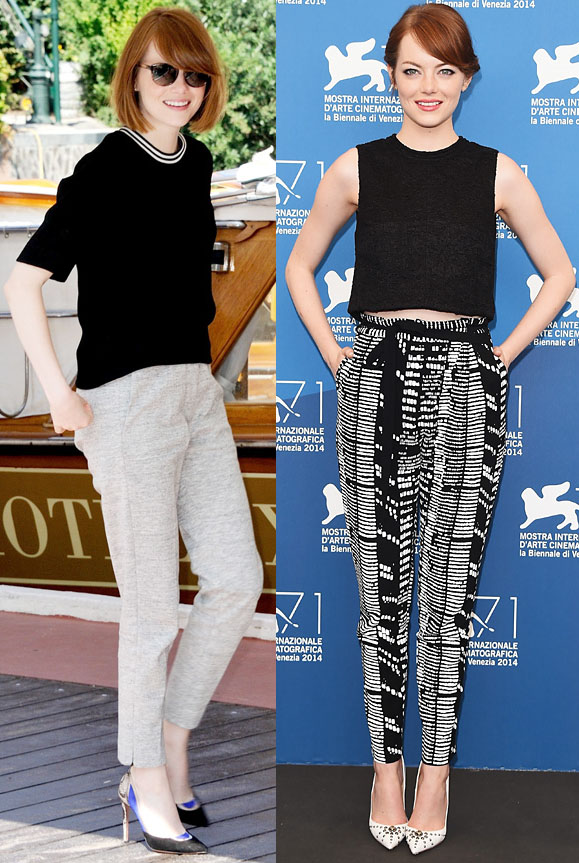 Emma Stone in a black top & Sandro pants at the Venice Film Festival. Emma Stone in Proenza Schouler separates at The Birdman photocall.