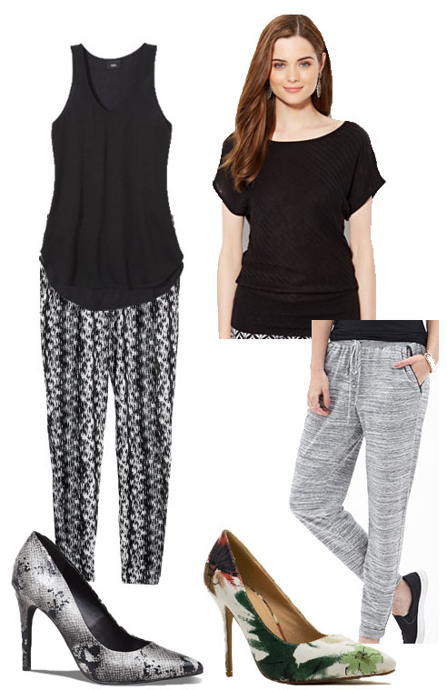 Emma Stone inspired black & pants looks.