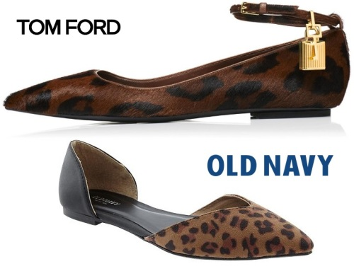 Leopard flats. Tom Ford & Old Navy.