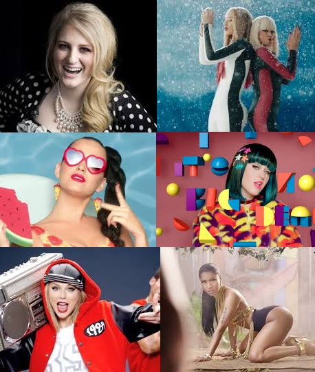 Meghan Trainor, Iggy Azalea & Rita Ora, Katy Perry, Taylor Swift, & Nicki Minaj.