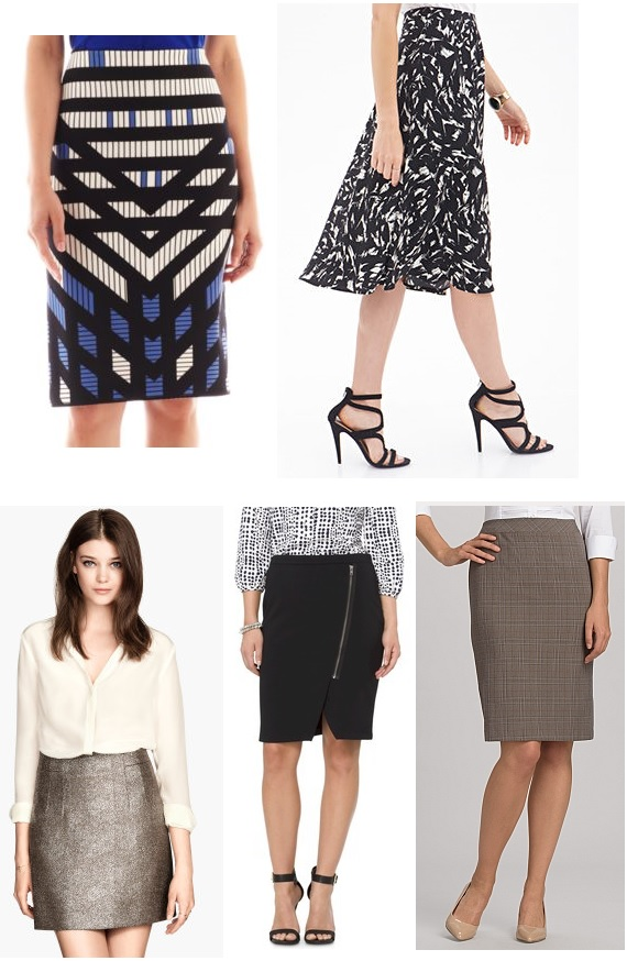 Skirts from JC Penney, Forever 21, H&M, Target, & Dress Barn.