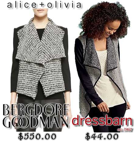 Bergdorg Goodman - Alice + Olivia Burma tween jacket $550.00. Dress Barn - collared shawl jacket $44.00.