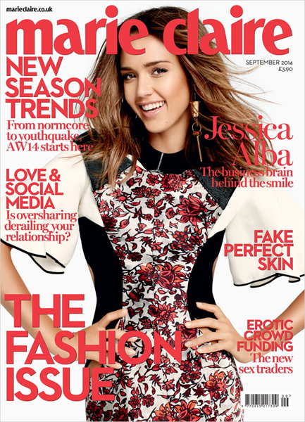 Jessica Alba for Marie Claire UK September 2014