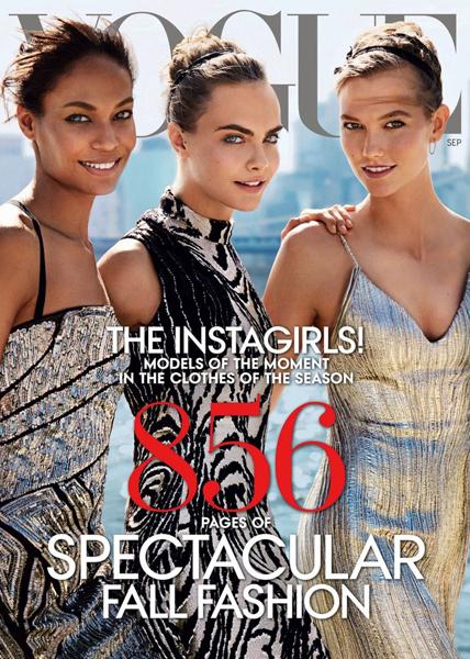 Joan Smalls, Cara Delevingne, & Karlie Kloss for Vogue September 2014.