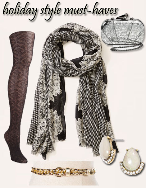 Tights @Payless $5.99, Scarf @LOFT $34.50, Clutch @Target $24.99, Belt @Francesca's $6.98, Earrings @Bauble Bar $28.00.