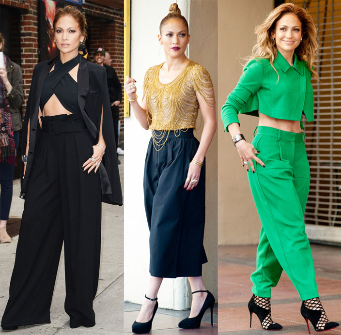 Jennifer Lopez in wide leg pants.