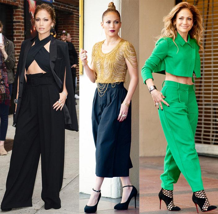 Jennifer Lopez in wide leg pants.