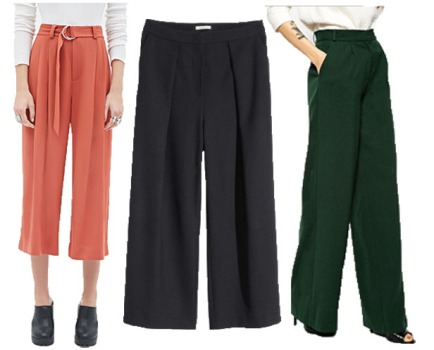 Culottes @Forever 21 ($32.90), Pants @H&M ($59.95) & @ASOS ($66.33).