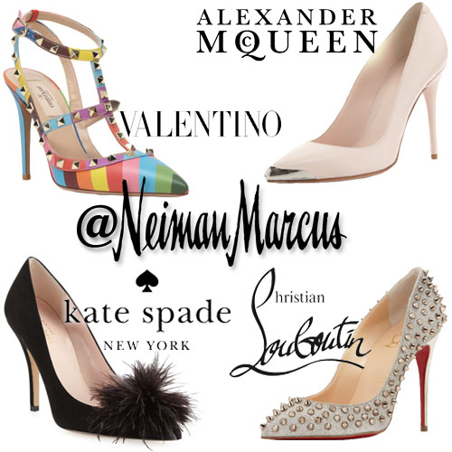 New Year's Eve pumps by Alexander McQueen, Valentino, Kate Spade, & Christian Louboutin from Neiman Marcus.