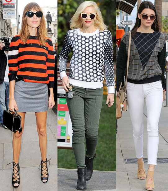 Alexa Chung, Gwen Stefani, & Kendall Jenner in printed sweaters.