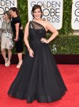 Allison Tolman in a black sweetheart one-shoulder gown.