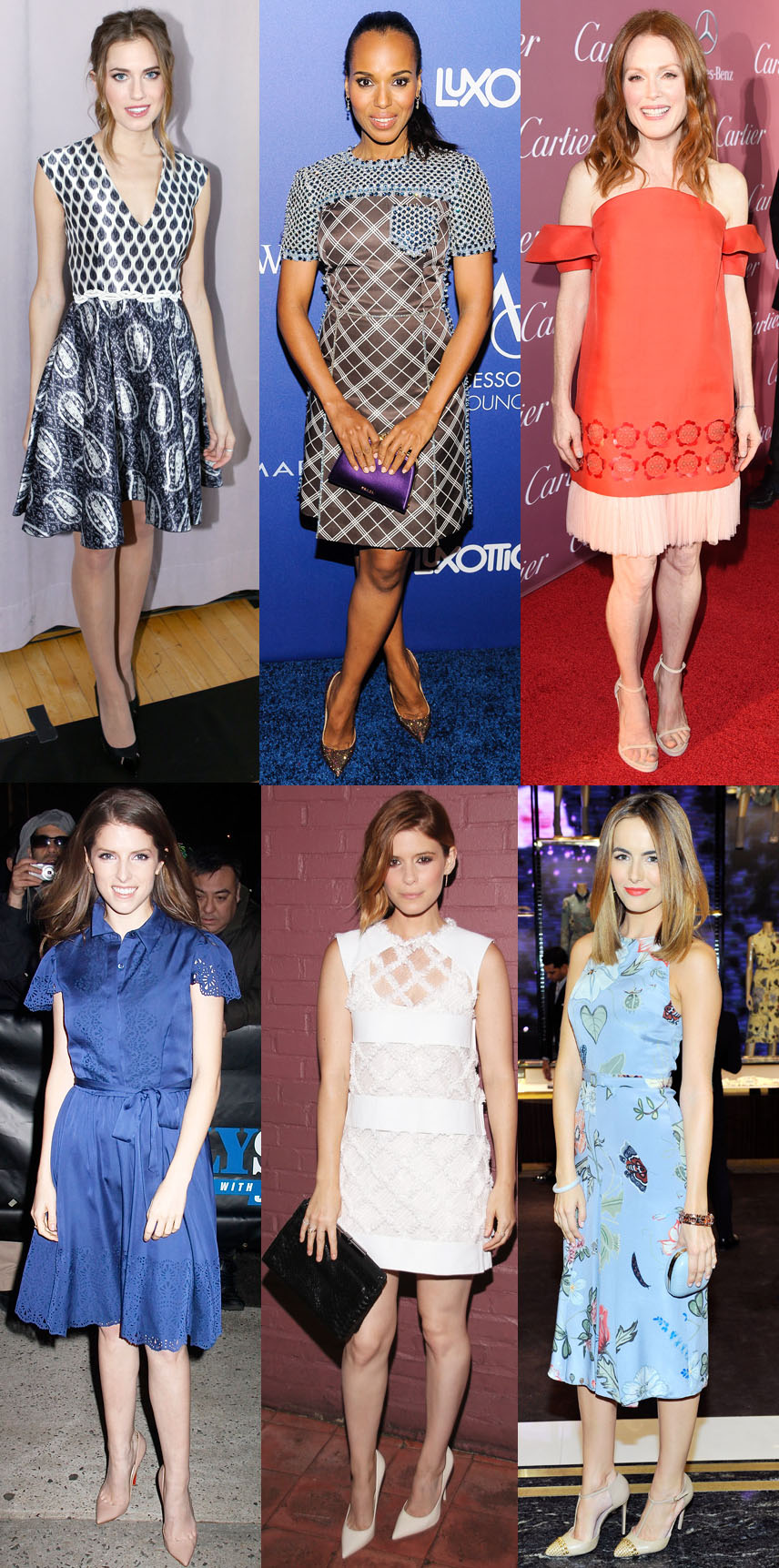 Allison Williams, Kerry Washington, Julianne Moore, Anna Kendrick, Kate Mara, & Camilla Belle.