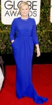 Amy Poehler in a cobalt blue Stella McCartney three-quarter sleeve dress.
