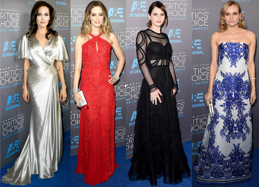 Angelina Jolie, Emily Blunt, Felicity Jones, & Diane Kruger at the 2015 Crtic's Choice Awards.
