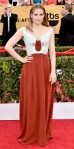 Anna Chlumsky in a red & silver Escada gown.